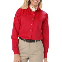 Ladies Long Sleeve Twill Shirt with Back logo and name