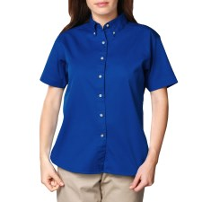 Ladies Short Sleeve Twill Shirt with Left Chest Logo, Back Logo and Name