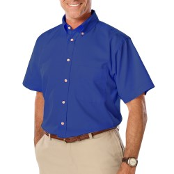 Men's Short Sleeve Twill Shirt with Left Chest Logo, Back Logo and Name